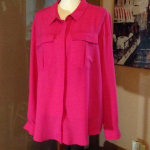 NWT Cato button front long sleeve roll tab shirt